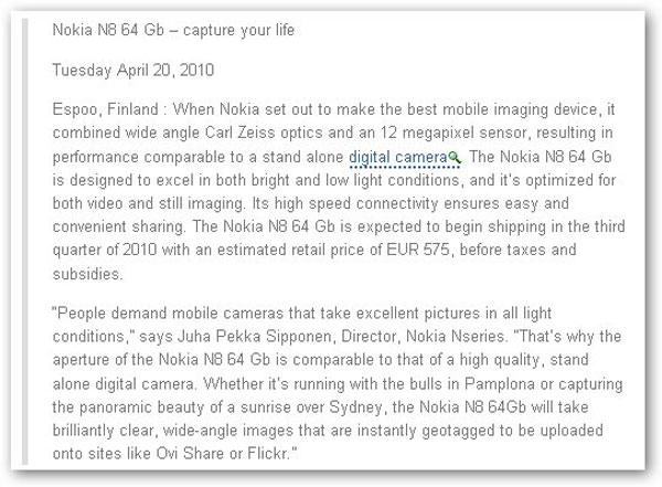Nokia N8, se presentará el 20 de abril según una nota de prensa filtrada