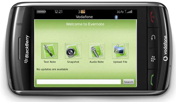 Evernote para BlackBerry, aplicación para crear y almacenar anotaciones en móviles BlackBerry