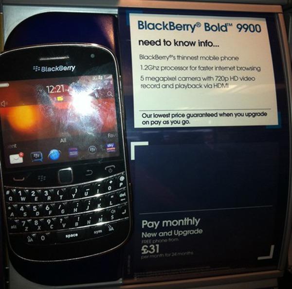 BlackBerry Bold 9900, a la venta en Reino Unido