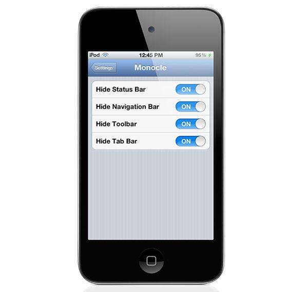 Monocle, aplicación para iPhone con Jailbreak con efecto de pantalla completa