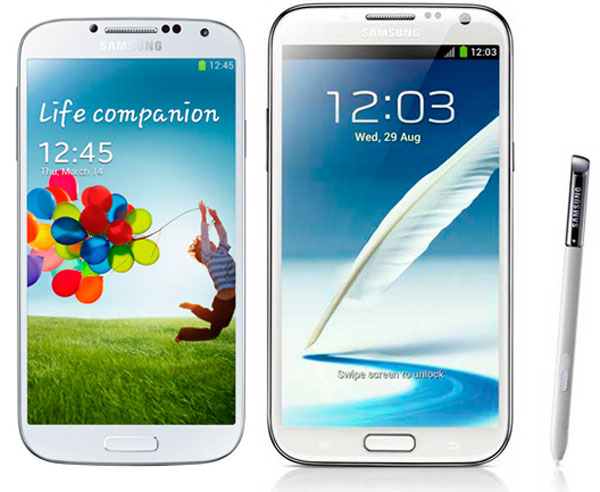 Comparativa, Samsung Galaxy S4 vs Samsung Galaxy Note 2