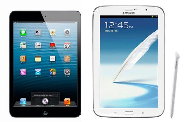 Comparativa, Samsung Galaxy Note 8.0 vs iPad mini con pantalla Retina