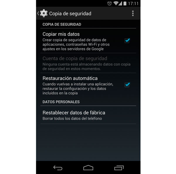 Android copia seguridad