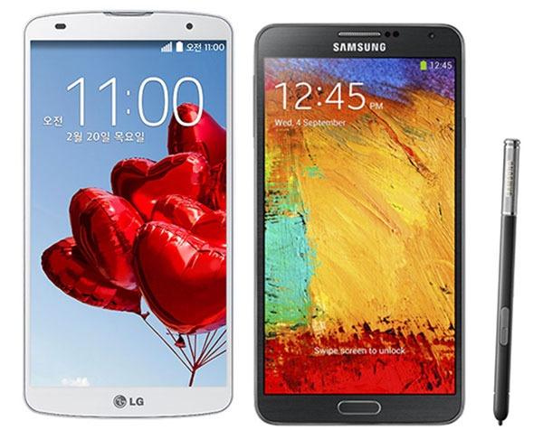 Comparativa LG G Pro 2 vs Samsung Galaxy Note 3