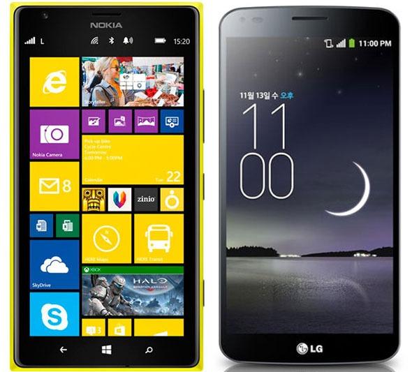Comparativa Nokia Lumia 1520 vs LG G Flex