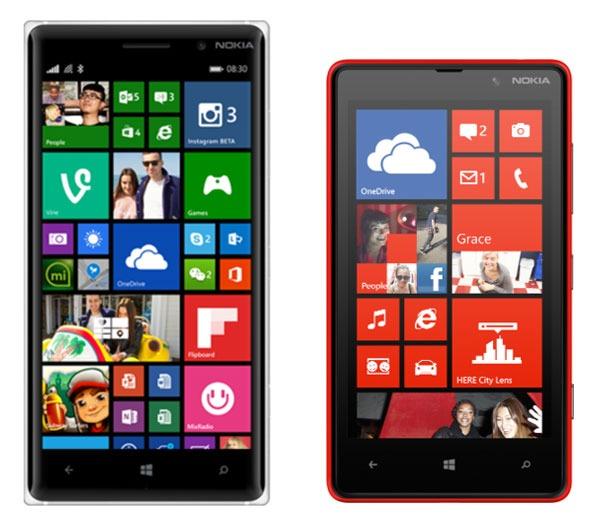 Comparativa Nokia Lumia 830 vs Nokia Lumia 820
