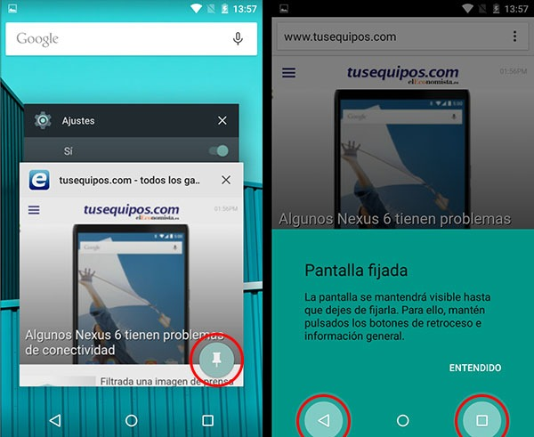Android Lollipop fijar pantalla