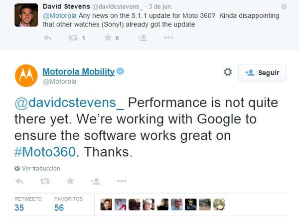Problemas con Android-OS 5.1.1 para el Motorola® Moto 360