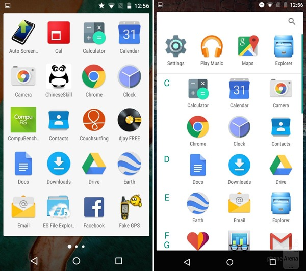 Diferencias en la interfaz entre Android-OS M y Lollipop