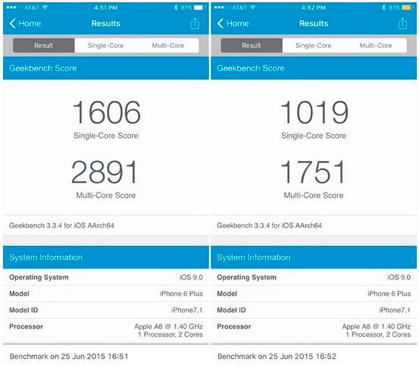 iOS 9 benchmark batería