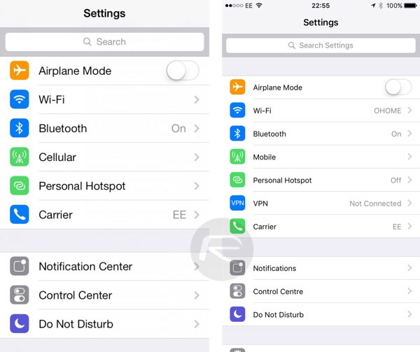 ios 9(nueve) searchsettings