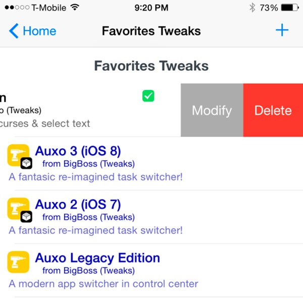 Cydia favoriteTweaks