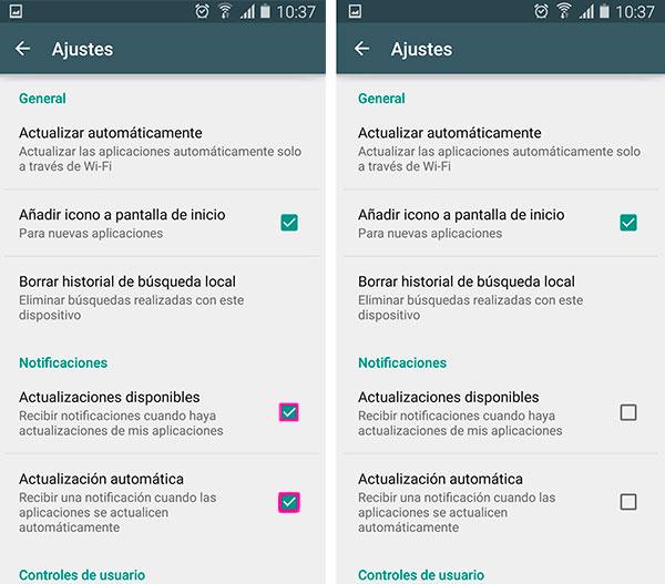 Android alertas actualizaciones