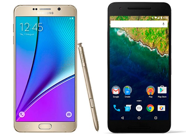 Comparativa Samsung Galaxy Note 5 vs Google Nexus 6P