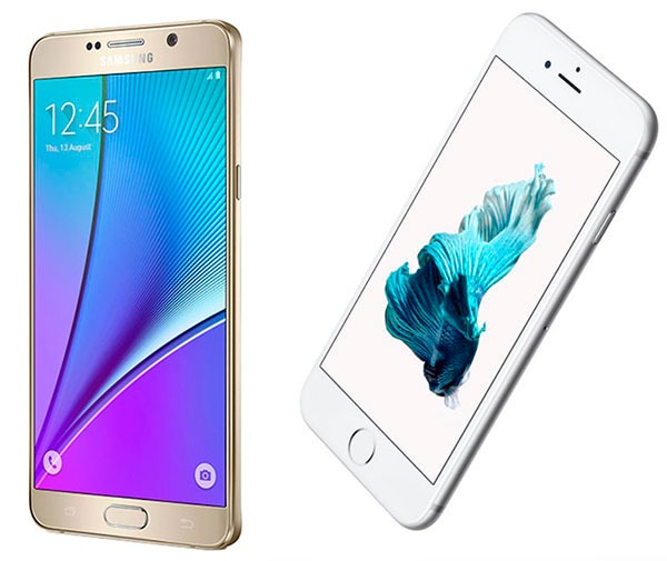 Comparativa Samsung Galaxy Note 5 vs iPhone 6s Plus