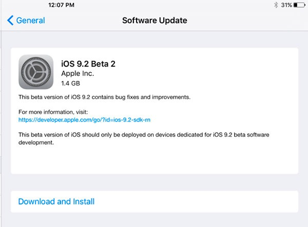 iOS 9.2 beta-RC 2