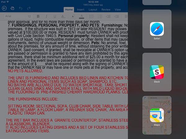 iPad iOS 9 Split View