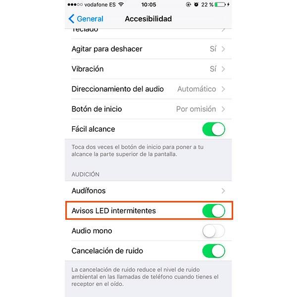 iPhone LED notificaciones