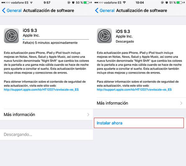 Cómo descargar e instalar iOS 9.3 en tu iPhone o iPad