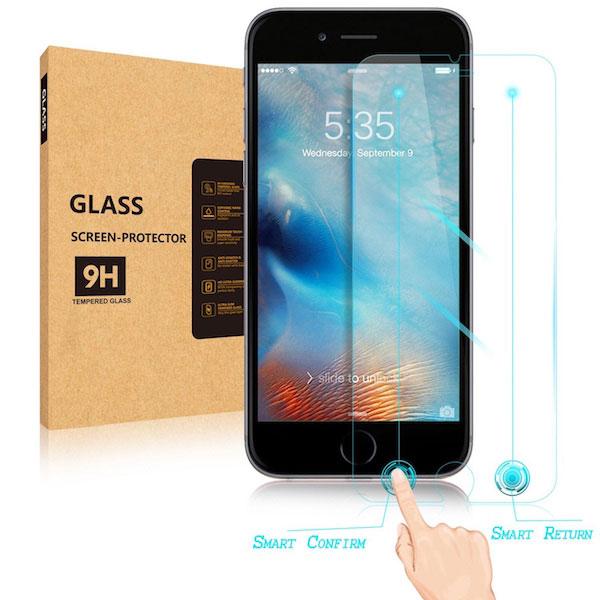 Un protector de pantalla que añade un botón de retroceso a los iPhone