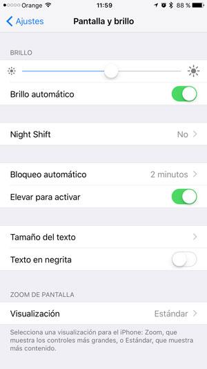 consejos ahorrar batería iPhone brillo 1