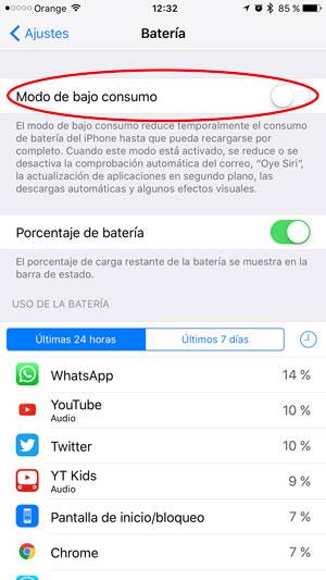 consejos ahorrar batería iPhone modo ahorro 2