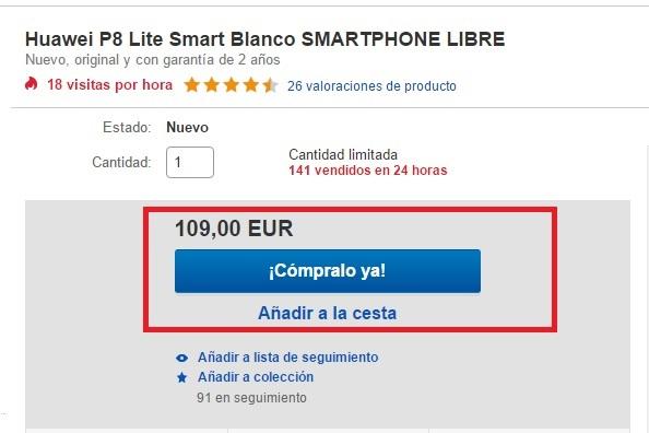 Compra un Huawei P8 Lite Smart por 110€ en eBay