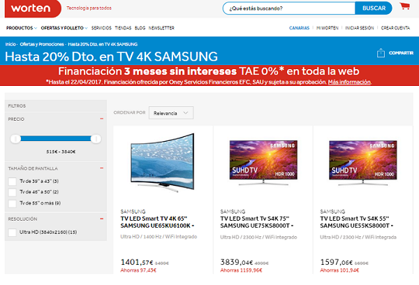 Televisores Samsung con un 20% de descuento en Worten