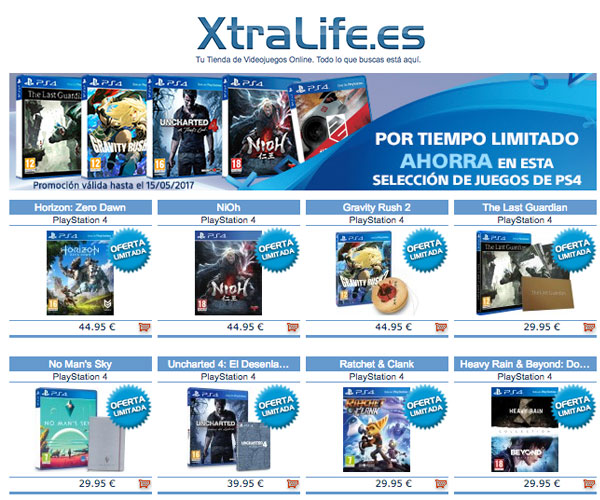 Horizon Zero Dawn o Uncharted 4, juegos de PS4 en oferta en XtraLife.es
