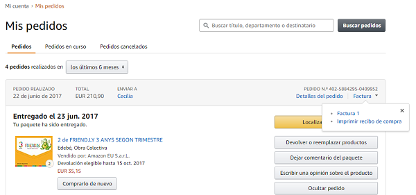 amazon da factura de compra