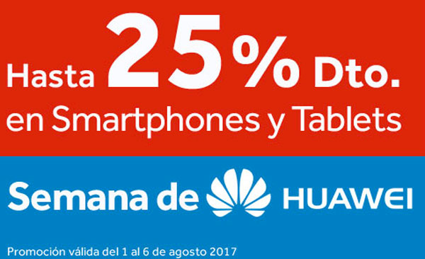 Hasta el 25% de descuento en smartphones y tablets Huawei en Worten