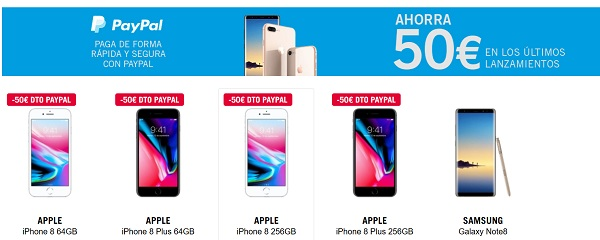 Un iPhone 8 o un Samsung Galaxy Note 8 por 50 euros menos si pagas con PayPal