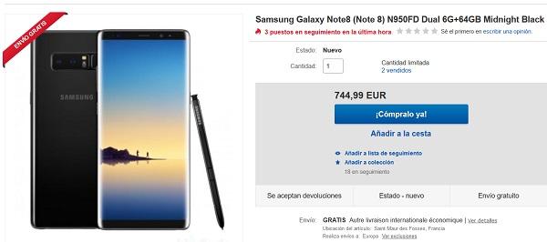 Consigue un Samsung Galaxy Note 8 en eBay por 745 euros