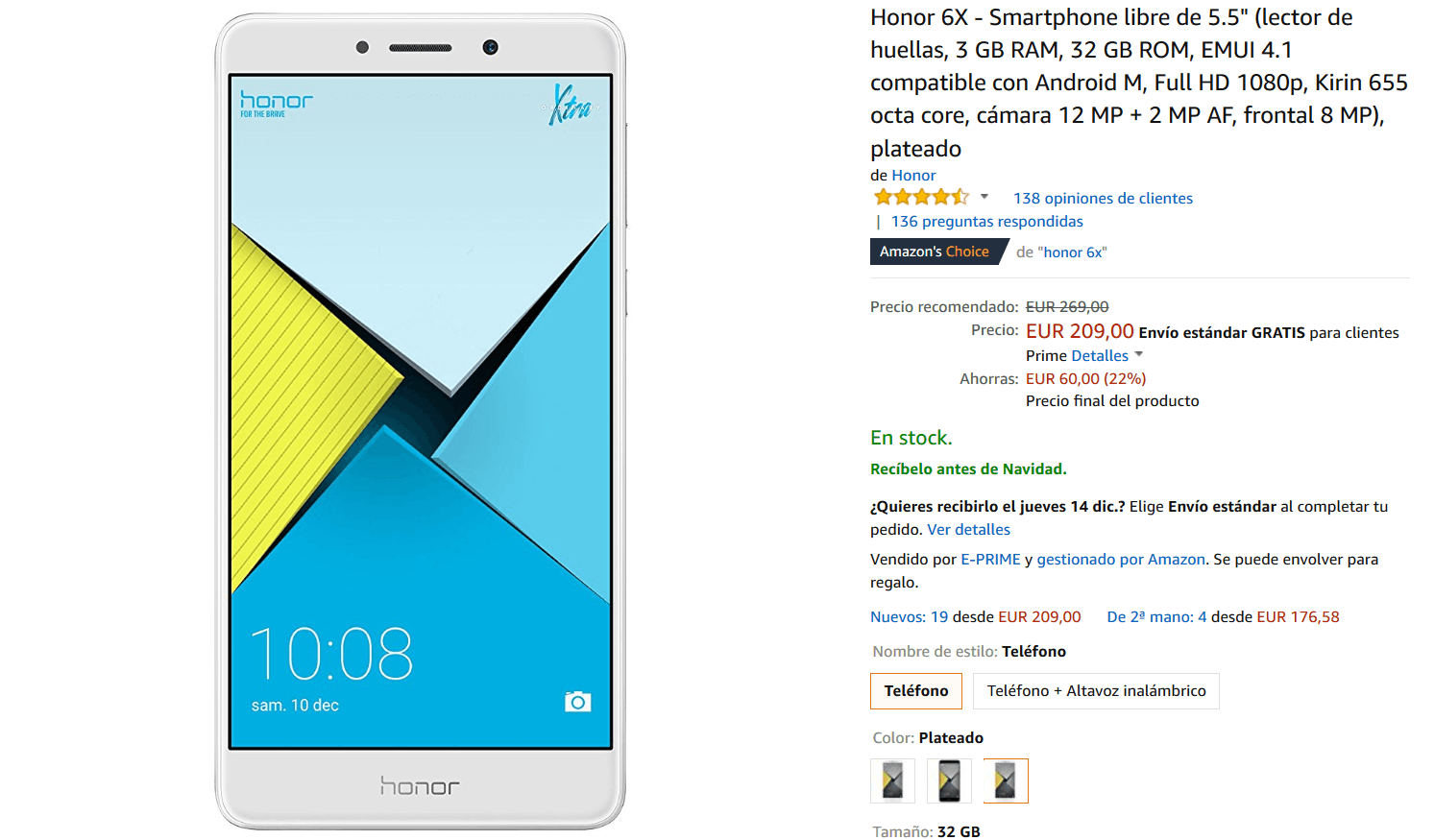 Honor 6X amazon oferta