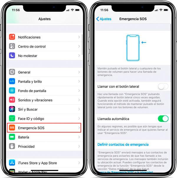 funciones ocultas iPhone X emergencia