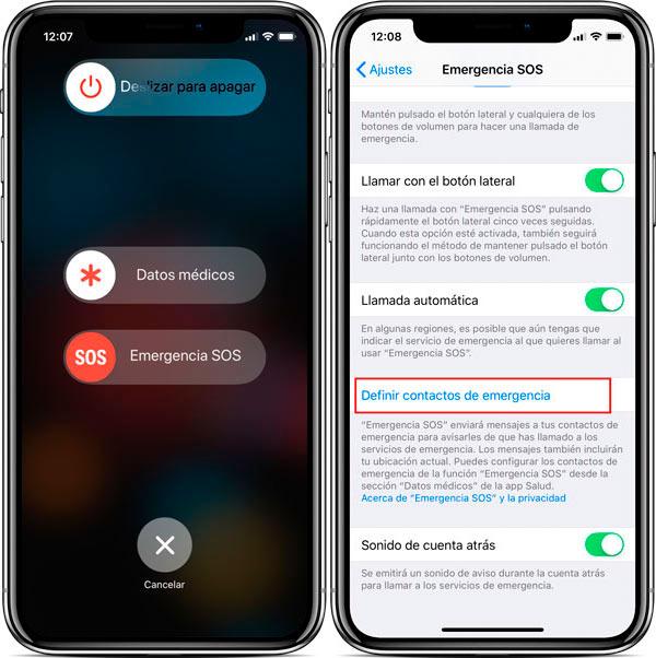 funciones ocultas iPhone X emergencia números