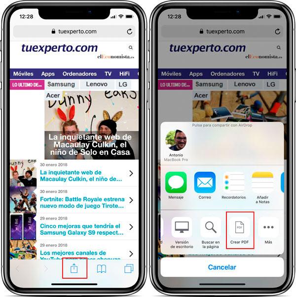 funciones ocultas iPhone X crear PDF