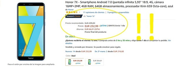 honor 7x oferta amazon