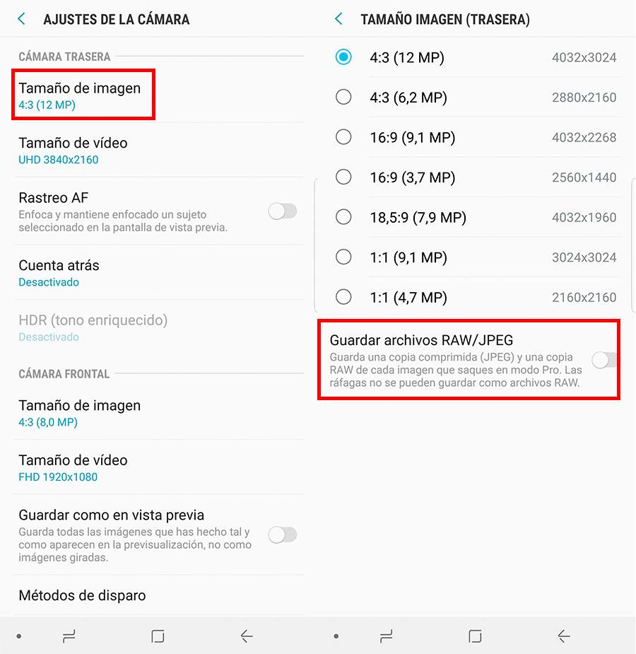 10 trucos para sacar el máximo partido al Samsung Galaxy Note 8 foto activar RAW