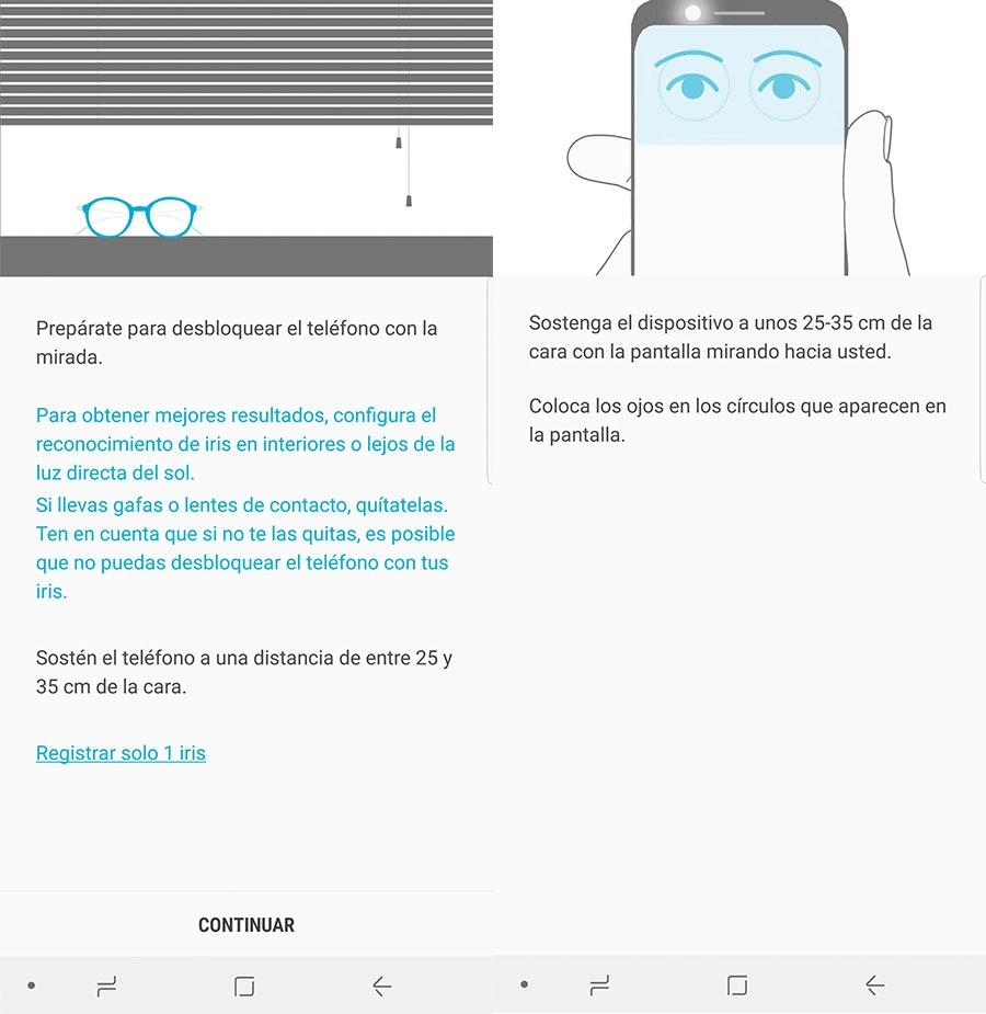 10 trucos para sacar el máximo partido al Samsung Galaxy Note 8 escáner iris uso