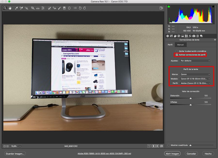5 ajustes de Photoshop que te ayudarán a mejorar la imagen corrección lente camare raw datos