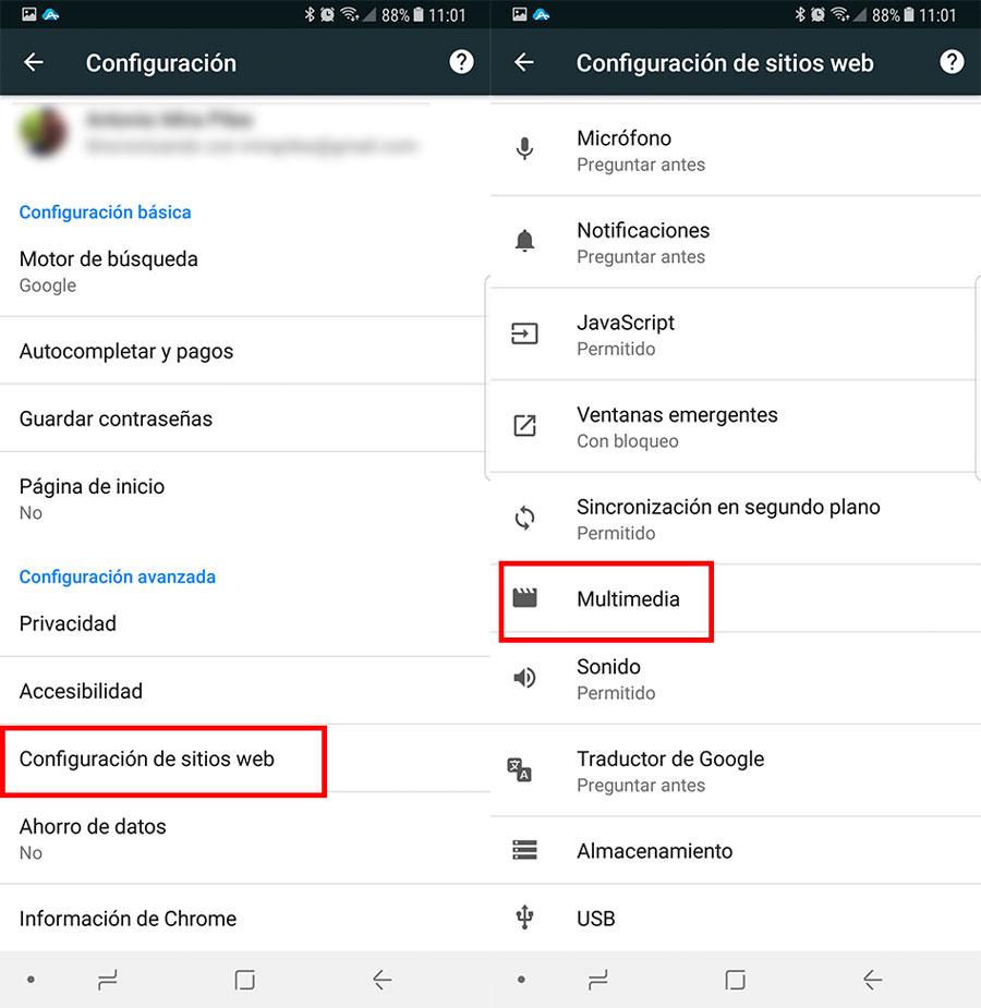cómo deshabilitar la reproducción automática de vídeos en Google Chrome en Android 2