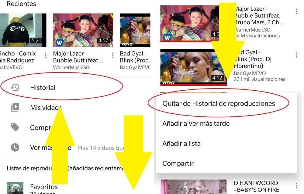 Cómo eliminar vídeos del historial de YouTube
