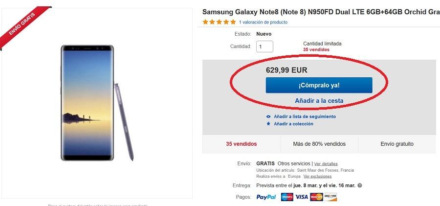 samsung galaxy note 8 ebay