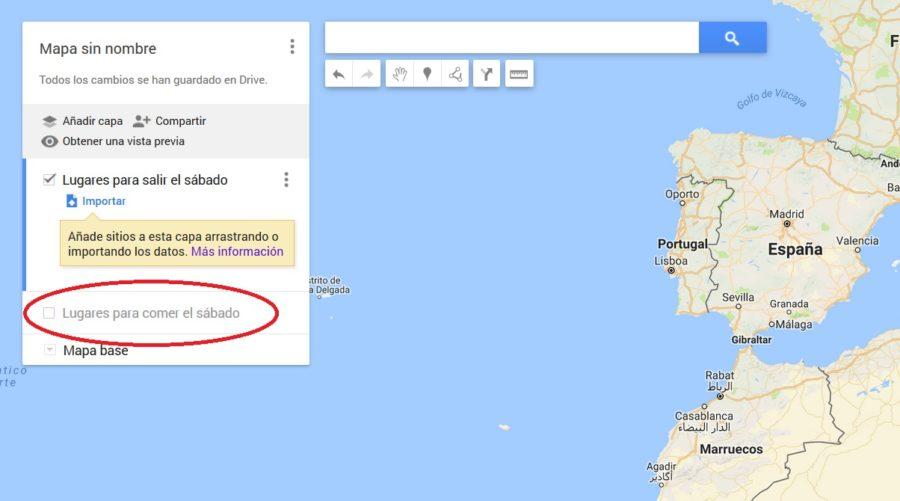 capas desactivadas google maps