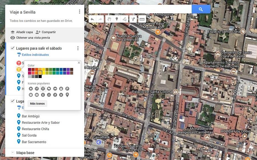 colores e iconos lugares maps