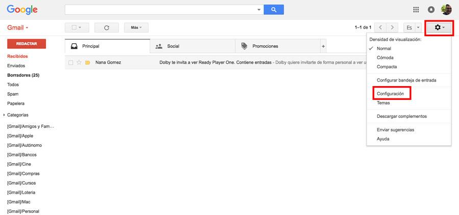 cómo crear una firma en Gmail configuración