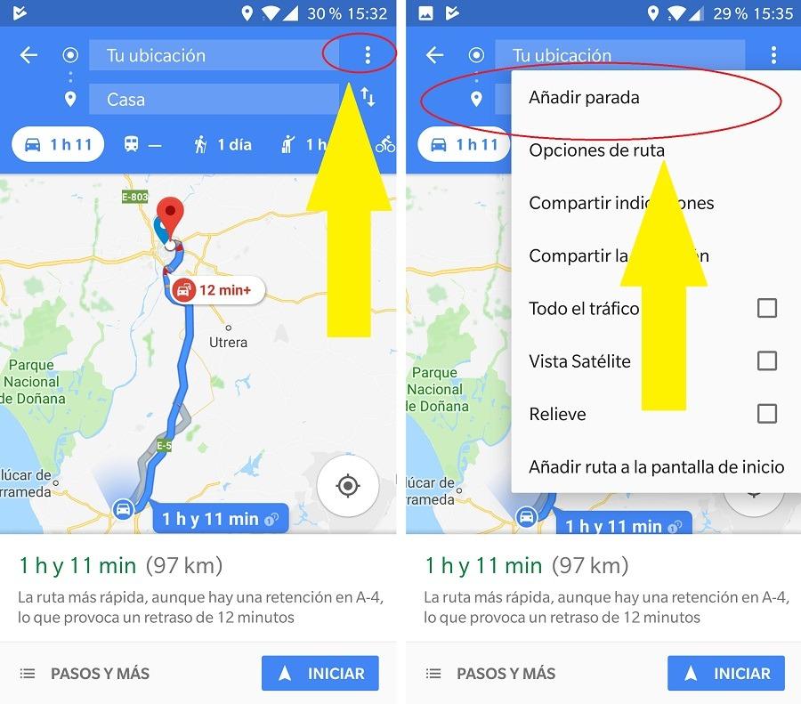 Cómo añadir paradas en Google Maps mientras viajas 1