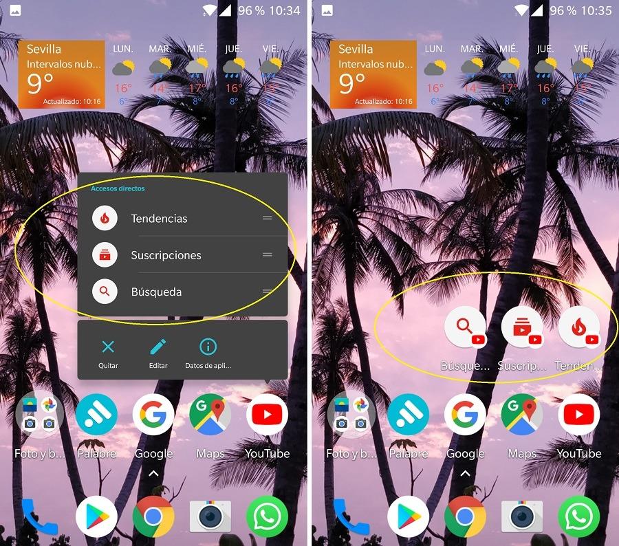colocar accesos directos apps android