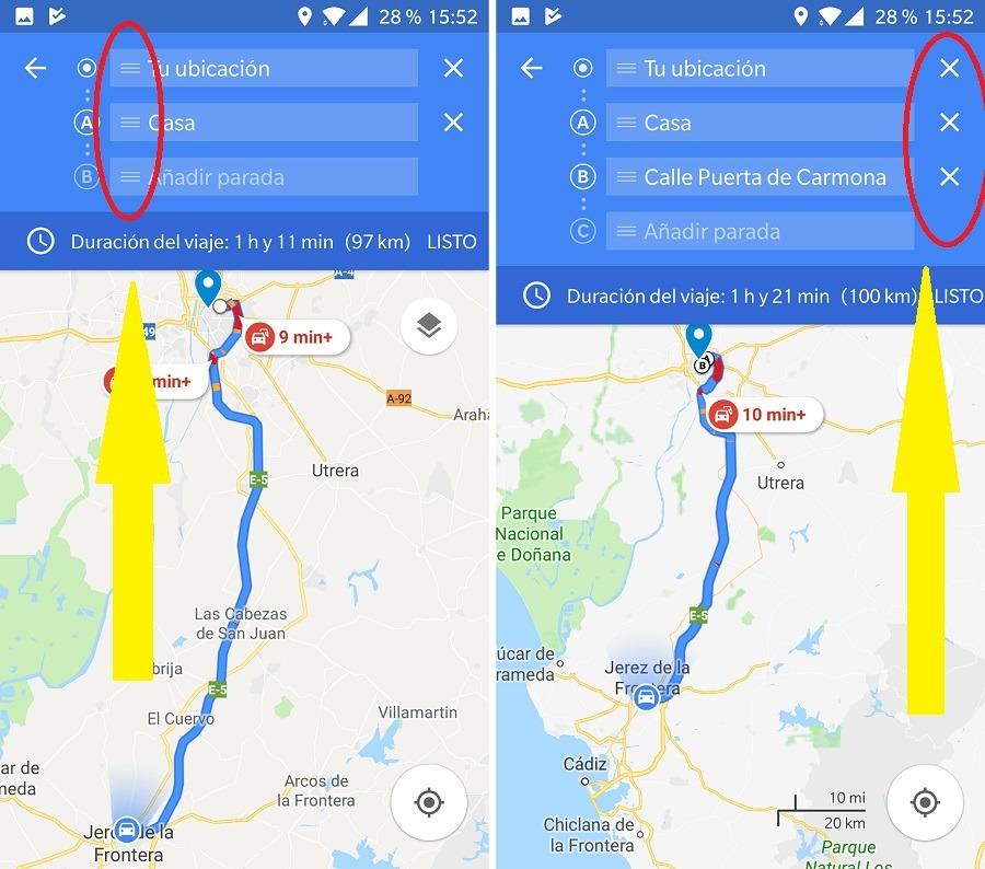 editar paradas google maps